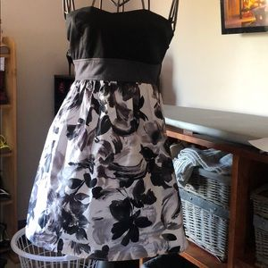 Size Small strapless Black & White Floral Dress